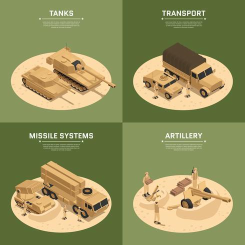 Quadratische Militärfahrzeuge isometrische Icon Set