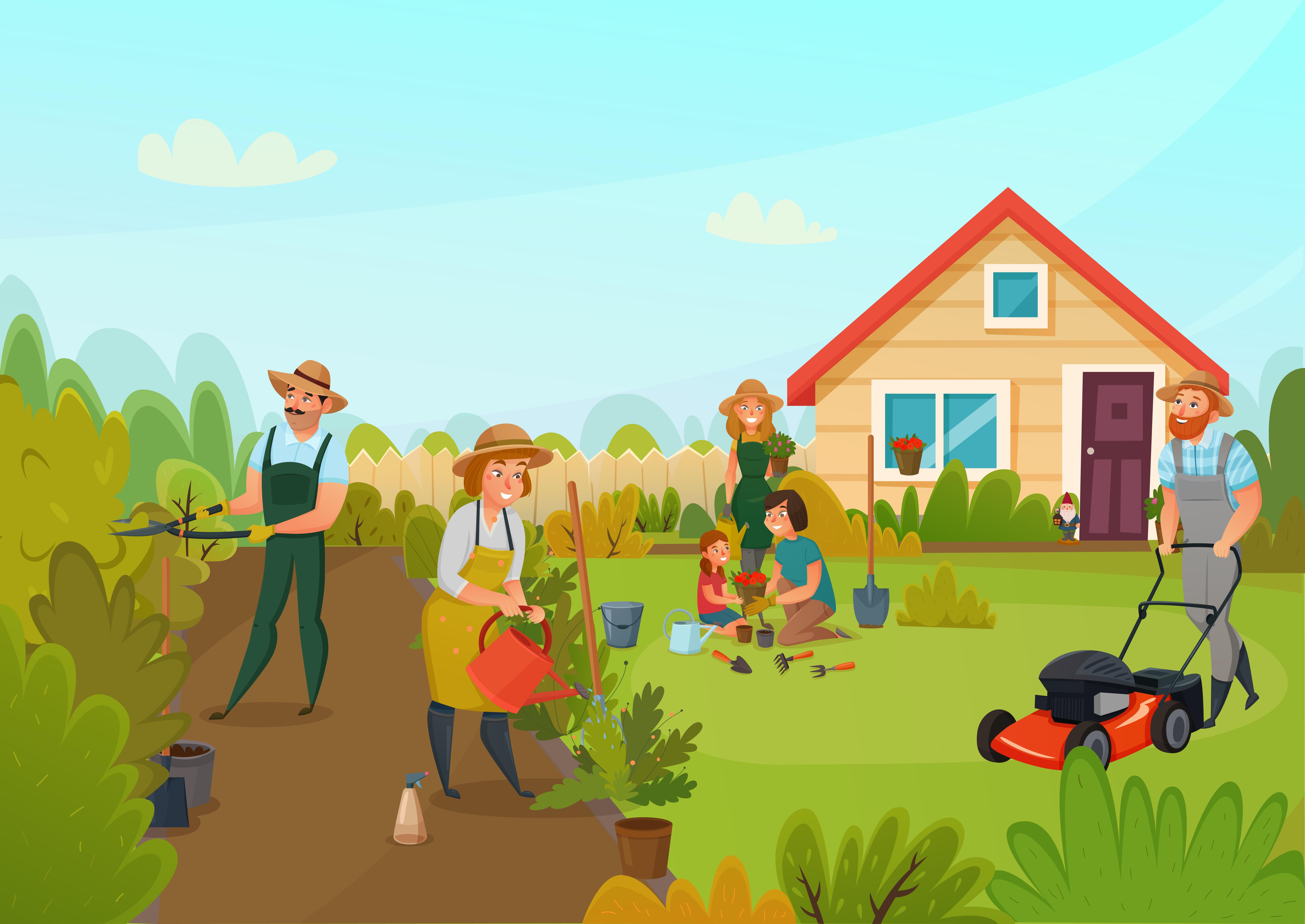 Gardening Cartoon Composition - Download Free Vectors ...