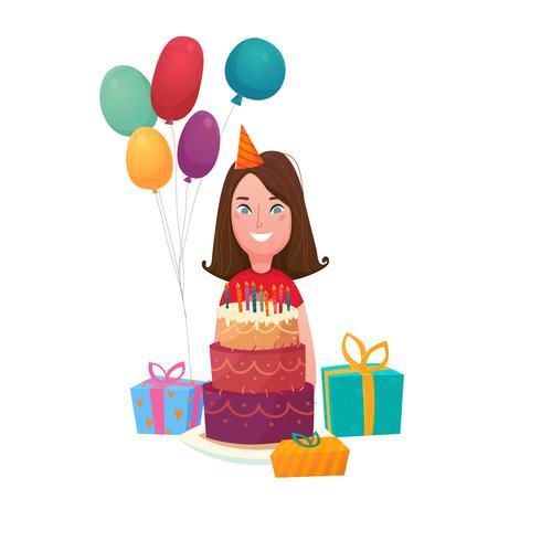 Composition de gâteau d'anniversaire fille vecteur