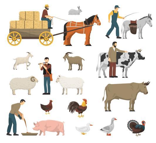 Conjunto de animales de granja vector