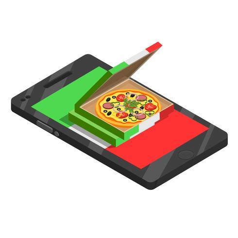 Pizza online isometrische Zusammensetzung