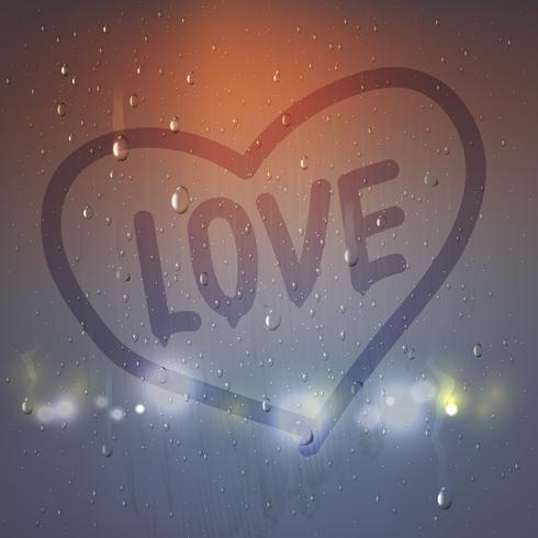 Composition coeur d'amour sur verre embué vecteur