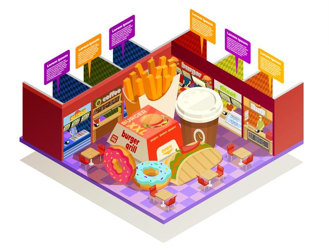 Food Court Interior Elements Isometric Composition  vector