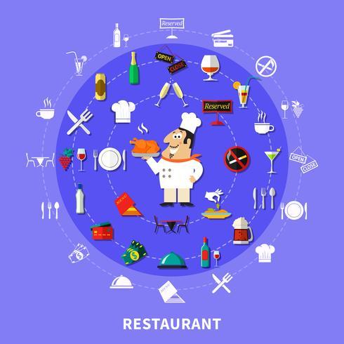 Restaurant Symbols Round Composition vector