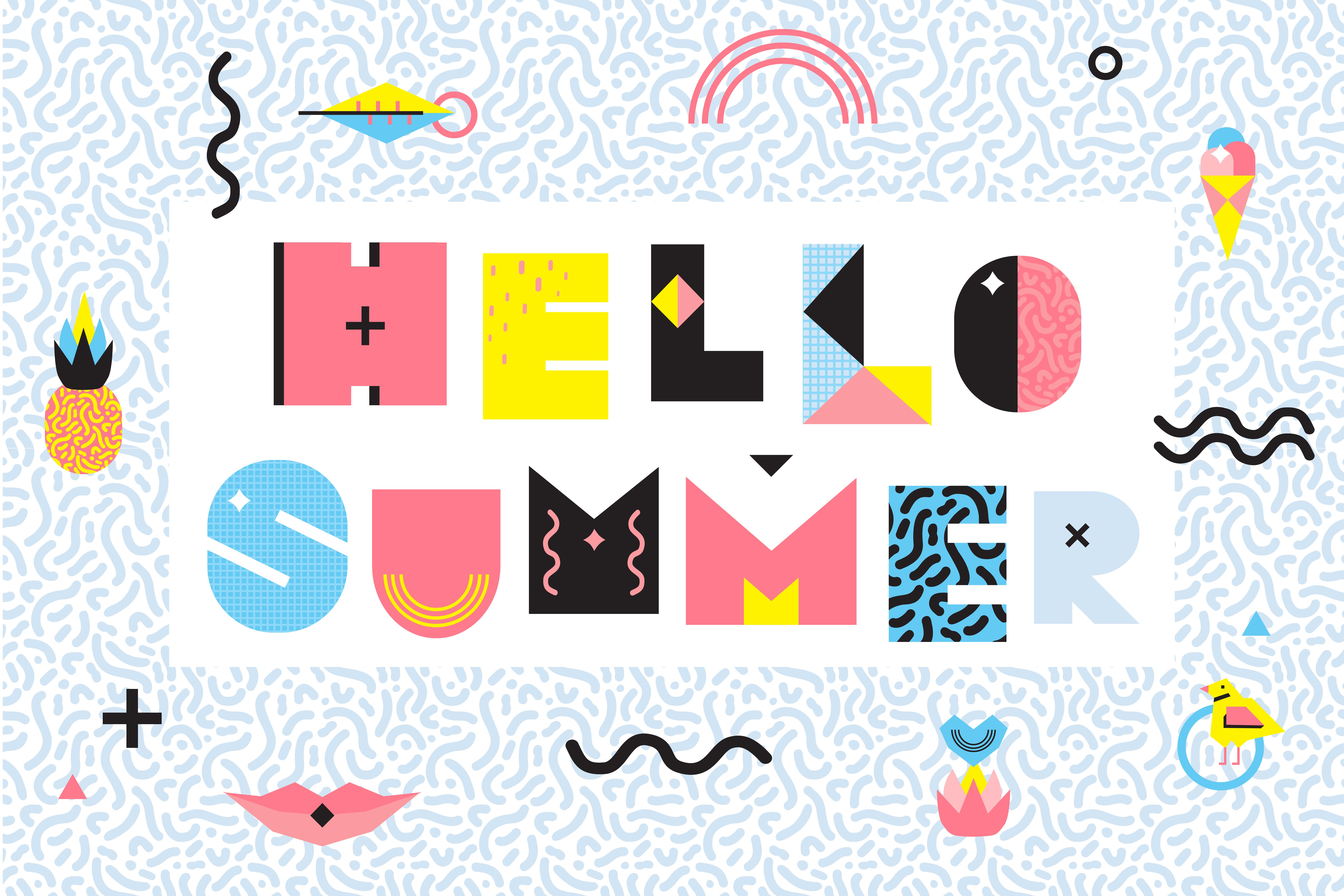 Hello Summer Memphis Style Design - Download Free Vectors ...
