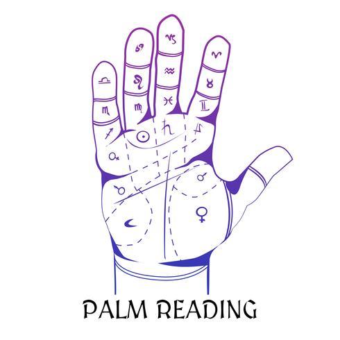 Concetto di progetto di chiromanzia con palma umana