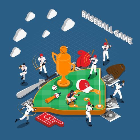 Composição isométrica de jogo de beisebol vetor