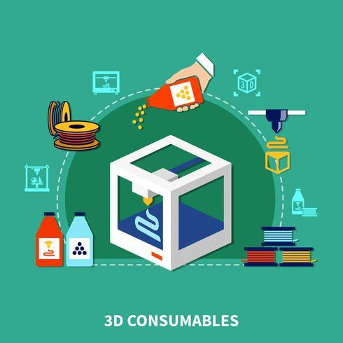 Materiali di consumo per il concetto di design di stampa 3d vettore