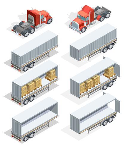 Conjunto de iconos isométricos de camión vector