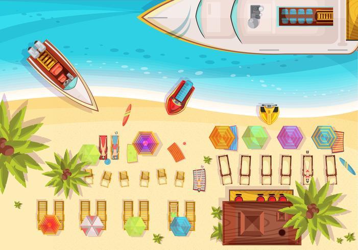 Illustrazione di vista superiore di festa della spiaggia vettore