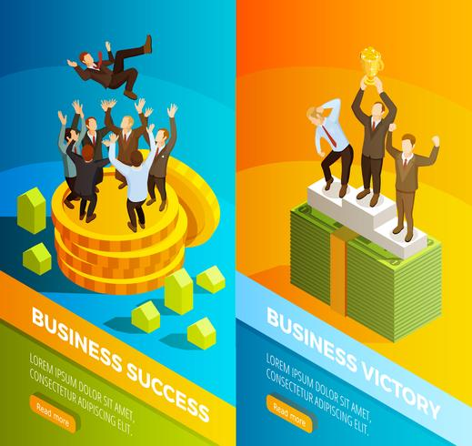 Successful Business People Celebration Isometric Banners