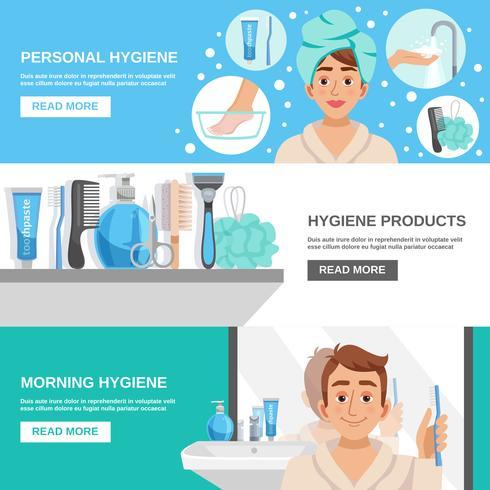 Morning Hygiene Banners Set vector