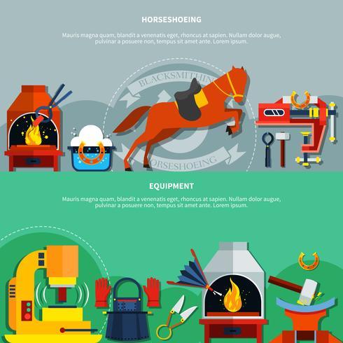 Ensemble de bannières de forgeron de fer à cheval