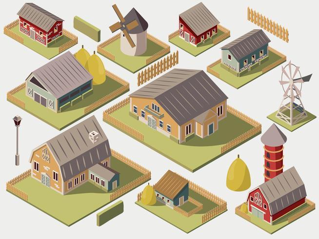Set isometrica delle fattorie