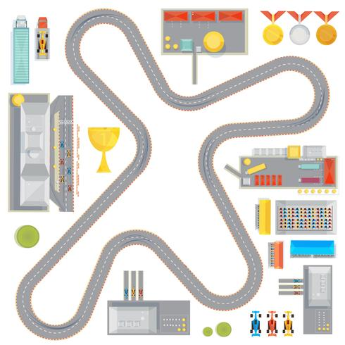 Gaming Race Track Komposition vektor