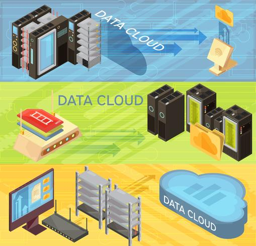 Conjunto de Banners isométricos de Data Cloud vector