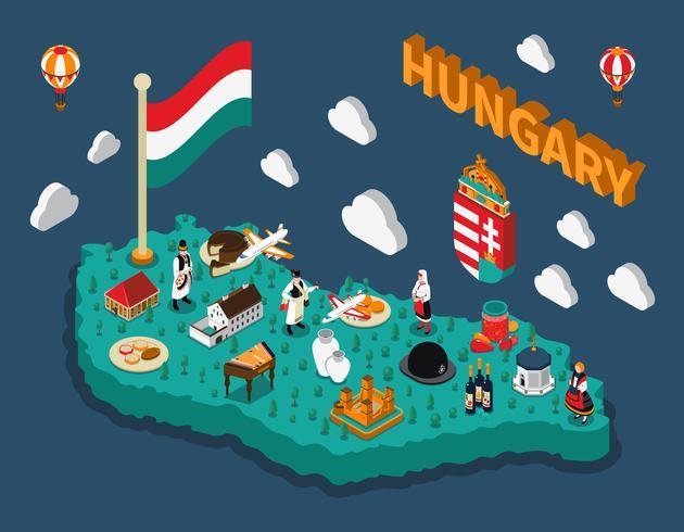 Carte touristique isométrique de la Hongrie