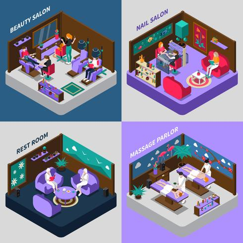 Beauty And Health Procedures Isometric Compositions vector