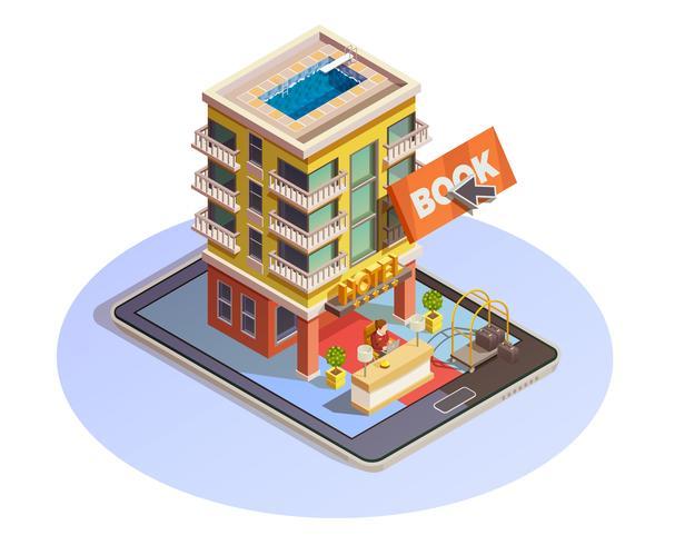 Hotelreservering Knop Isometrisch tabletpictogram