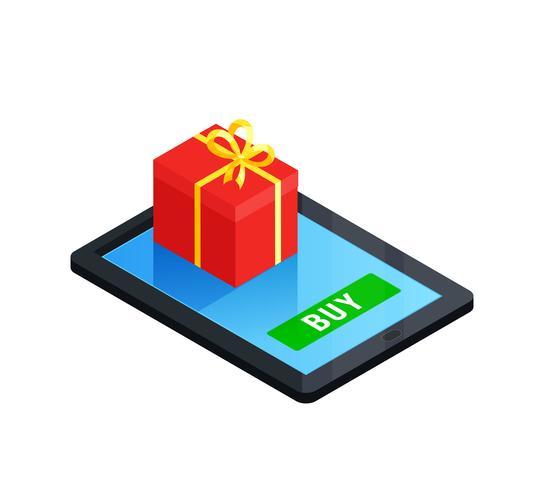 Concepto de caja de regalo en línea