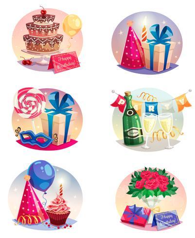Celebración conjunto de globos de aire aislados vector