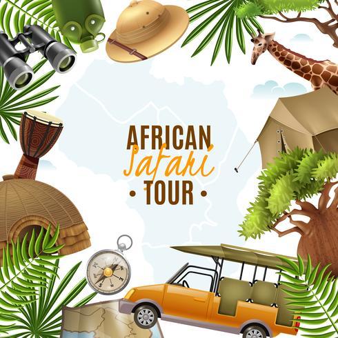 Illustrazione realistica di vettore di safari con la pagina degli accessori