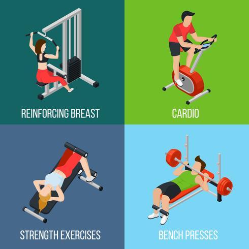 Gym People Isolated Icon Set