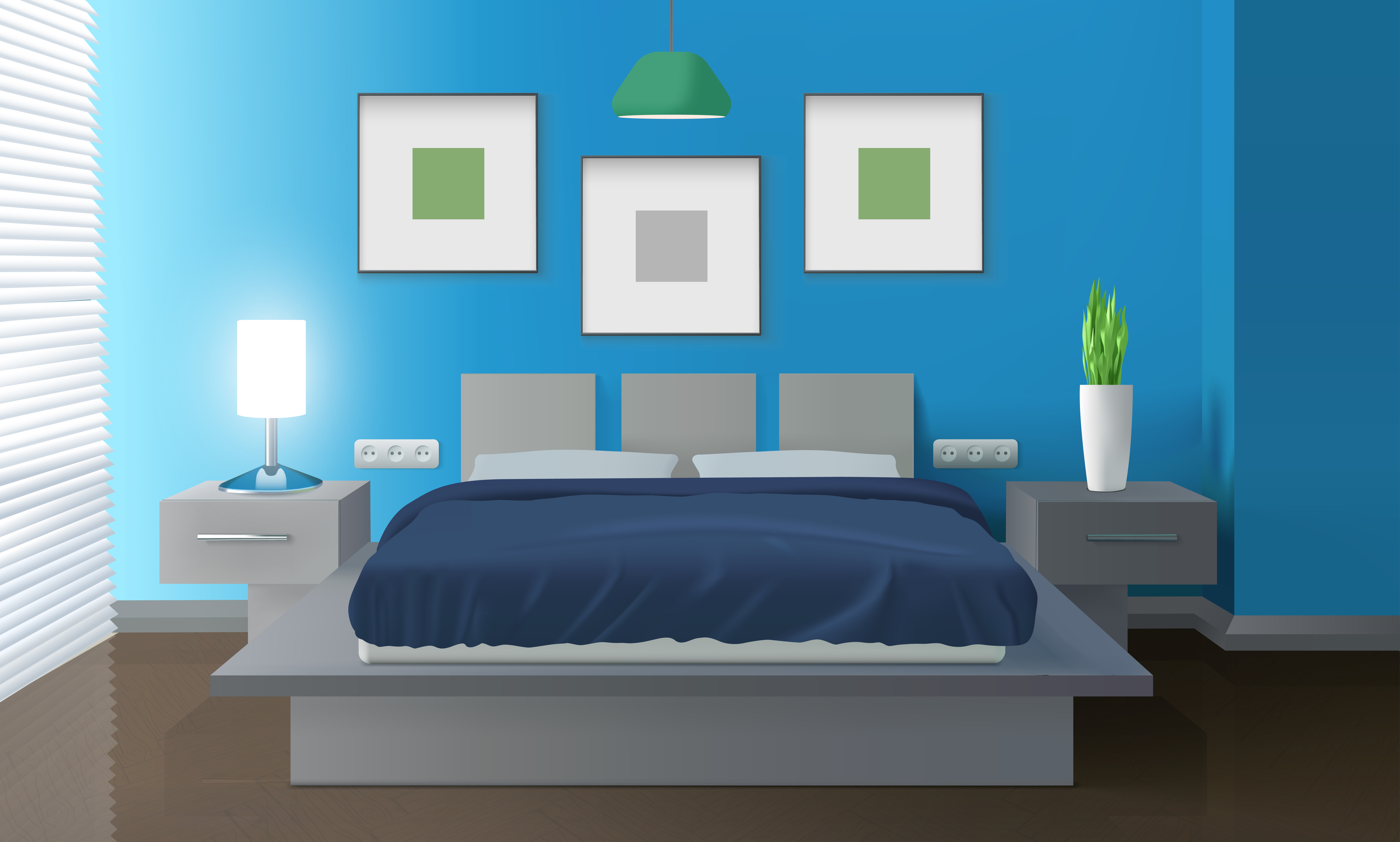 Modern Bedroom Blue Interior - Download Free Vectors, Clipart