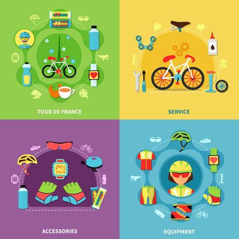 Conjunto de ícones de conceito de bicicleta