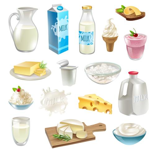 Milk Products Icons Set