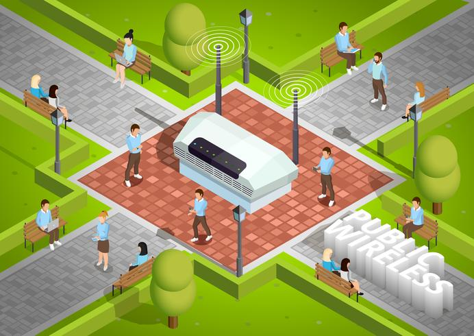 Public Wireless Technology Outdoor Isometric Poster vector