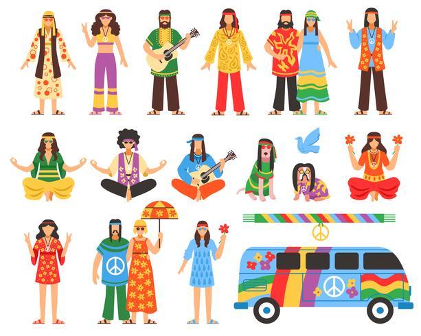 Hippie Decorative Icons Set  vector