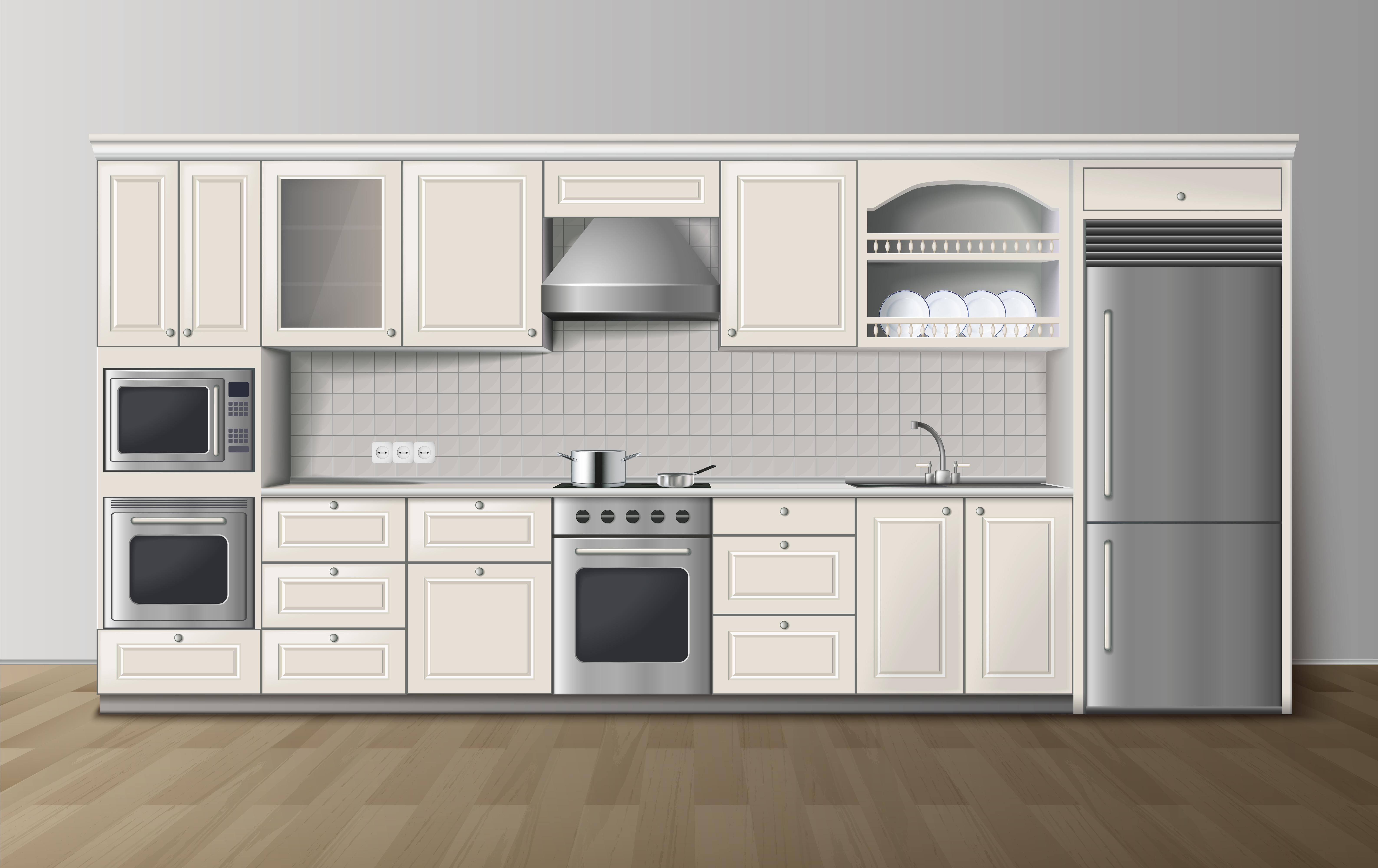 luxury kitchen white realistic interior image 471139