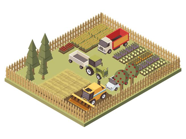 Agricultural Vehicles Isometric Design vector