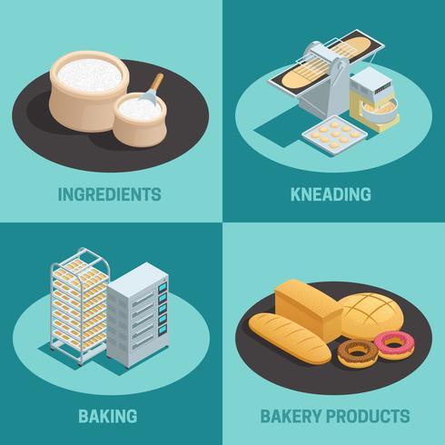 Four Bakery Factory isometrisk ikonuppsättning