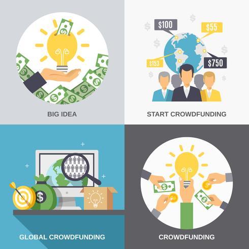 Financement participatif 2x2 Design Concept vecteur