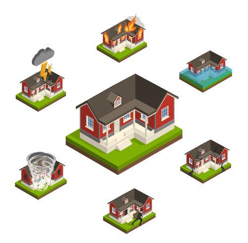 Conjunto isométrico del seguro del hogar