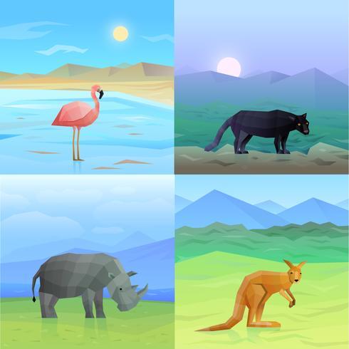 Set di sfondo di animali vettore