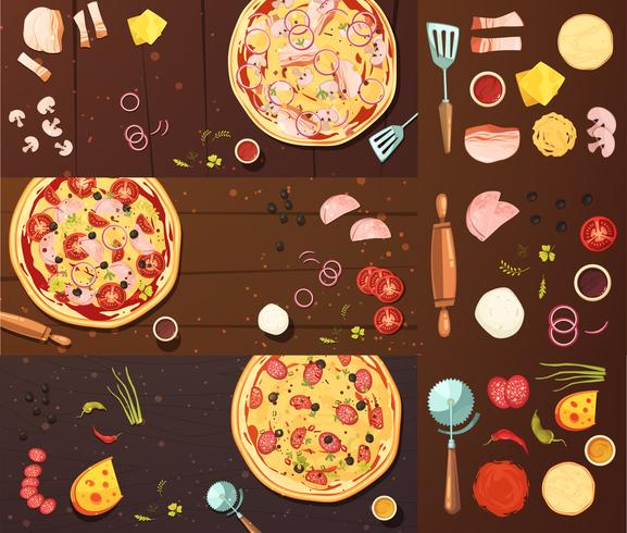 Cooking Of Pizza Banners Set vector