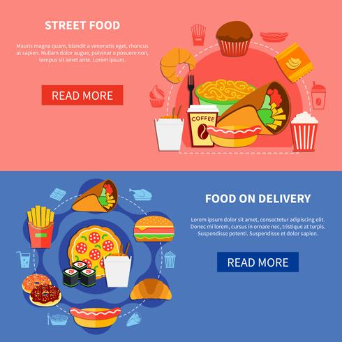 Fast Food 2 Flat Banners Webpage