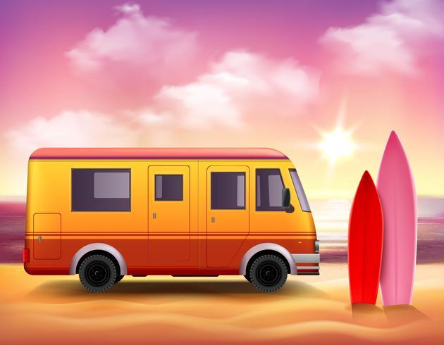 Surfing Van 3D Fond coloré Affiche vecteur