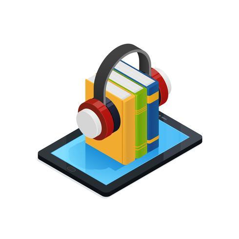 Libros de audio en línea de diseño isométrico vector