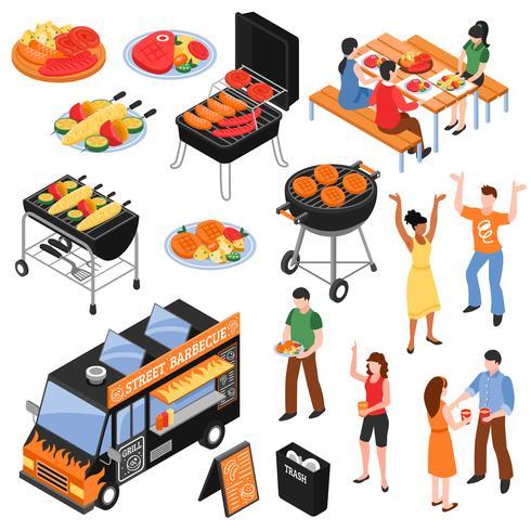 Barbecue Isometric Set vector