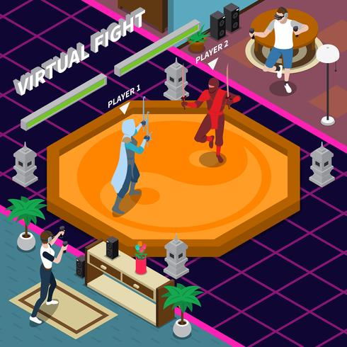 Virtual Fight Isometric Illustration