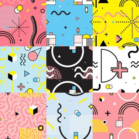 Seamless Patterns Ställ in Memphis Style