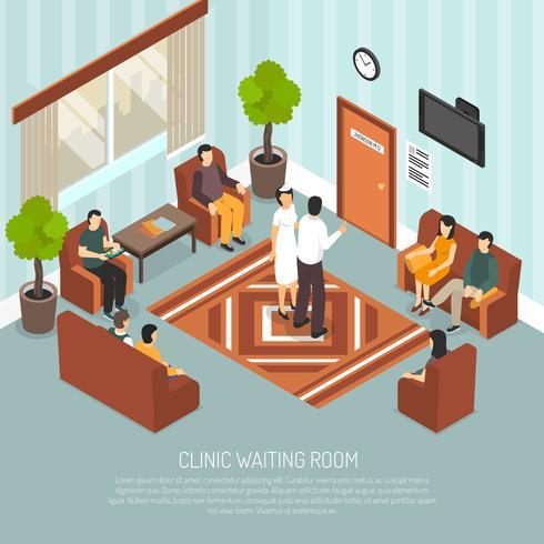 Illustrazione isometrica sala d'attesa clinica