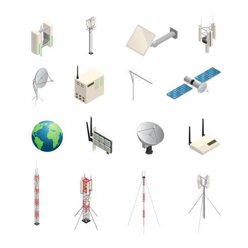 Icone isometriche dell'apparecchiatura di comunicazione senza fili vettore