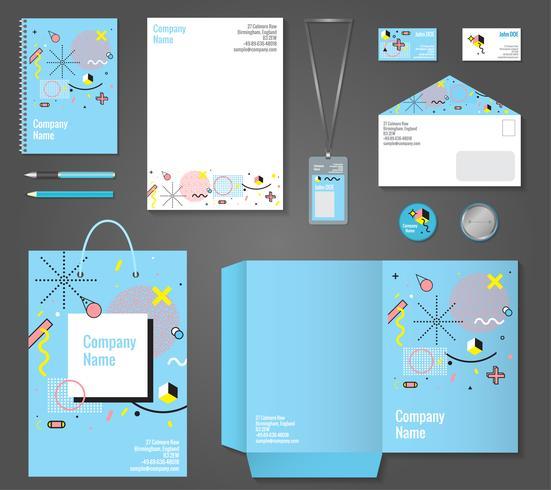 brevpapper företagsidentitet memphis stil vektor