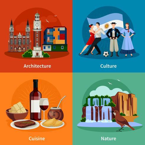 Argentina Atracciones 4 Plaza de los Iconos Planos vector