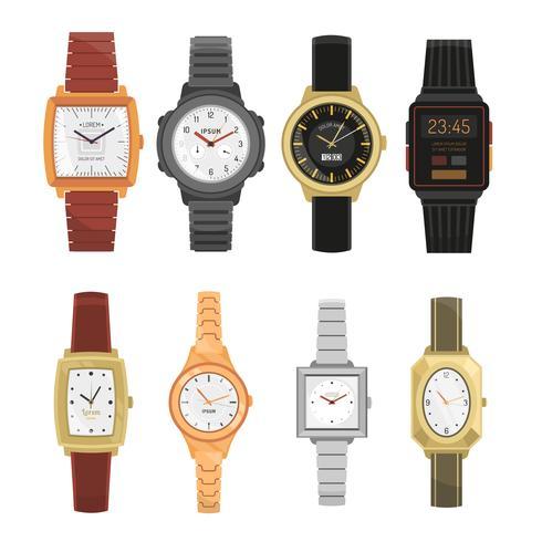 Homem e mulher relógios de pulso conjunto vetor